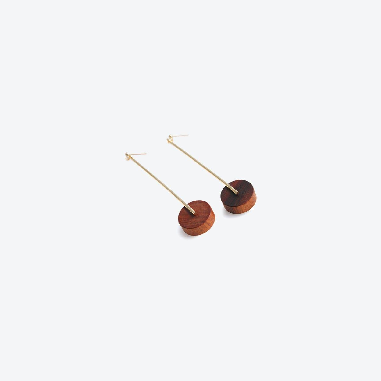 Kasia Large Earrings Gold & Wood