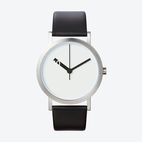 Extra Normal Grande Watch w/ White Face and Black Calfskin Leather Strap