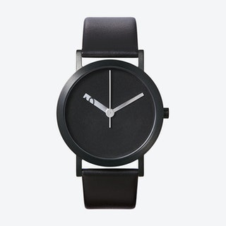 IP Black Stainless Steel Extra Normal Grande Watch w/ Black Face and Black Calfskin Leather Strap