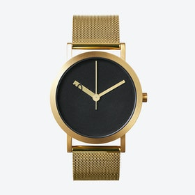IP Gold Stainless Steel Extra Normal Grande Watch w/ Black Face and Gold Stainless Steel Mesh Brand