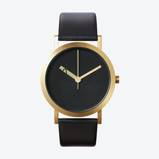 IP Gold Stainless Steel Extra Normal Grande Watch w/ Black Face and Black Calfskin Leather Strap