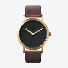 IP Gold Stainless Steel Extra Normal Grande Watch w/ Black Face and Brown Calfskin Leather Strap