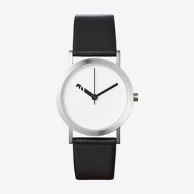 Extra Normal Watch w/ White Face and Black Calfskin Leather Strap
