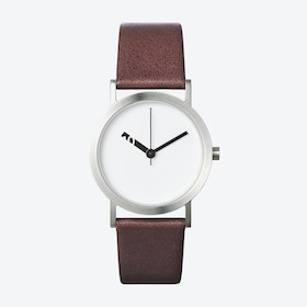 Extra Normal Watch w/ White Face and Brown Calfskin Leather Strap