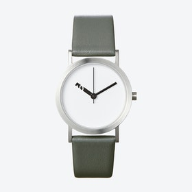 Extra Normal Watch w/ White Face and Grey Calfskin Leather Strap