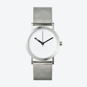 Extra Normal Watch w/ White Face and Stainless Steel Mesh Band