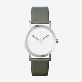 Extra Normal Watch w/ White Dial and Grey Calfskin Leather Strap