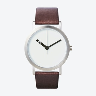 Extra Normal Grande Watch w/ White Face and Brown Calfskin Leather Strap