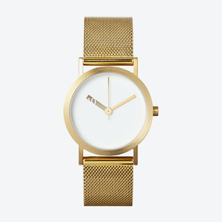 IP Gold Stainless Steel Extra Normal Watch w/ White Face and Gold Stainless Steel Mesh Band