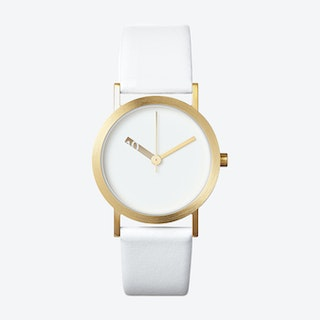 IP Gold Stainless Steel Extra Normal Watch w/ White Face and White Calfskin Leather Strap