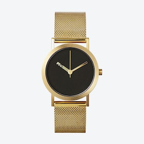 IP Gold Stainless Steel Extra Normal Watch w/ Black Face and Gold Stainless Steel Mesh Band