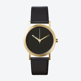 IP Gold Stainless Steel Extra Normal Watch w/ Black Face and Black Calfskin Leather Strap