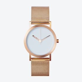 IP Rose Gold Stainless Steel Extra Normal Watch w/ Grey Face and IP Rose Gold Stainless Steel Mesh Band
