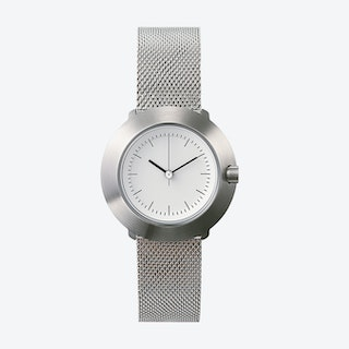Fuji Ø 31 Watch w/ White Face and Stainless Steel Mesh Band