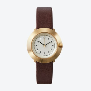 Fuji Ø 31 Watch w/ Off-White Face and Brown Calfskin Leather Strap