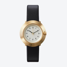 Fuji Ø 31 Watch w/ Off-White Face and Black Calfskin Leather Strap