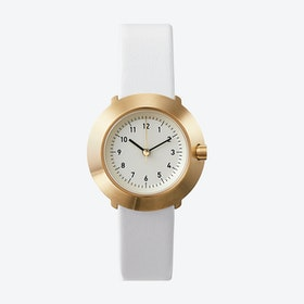 Fuji Ø 31 Watch w/ Off-White Face and White Calfskin Leather Strap