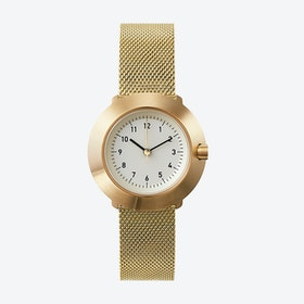 Fuji Ø 31 Watch w/ Off-White Face and IP Gold Stainless Steel Mesh Band