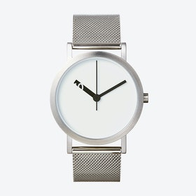 Extra Normal Grande Watch w/ White Face and Stainless Steel Mesh Band