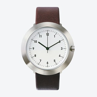 Fuji Ø 43 Watch w/ White Face and Brown Calfskin Leather Strap