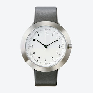 Fuji Ø 43 Watch w/ White Face and Grey Calfskin Leather Strap
