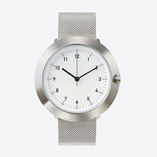 Fuji Ø 43 Watch w/ White Face and Stainless Steel Mesh Band
