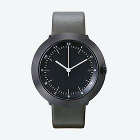 Fuji Ø 43 Watch w/ Dark Grey Face and Grey Calfskin Leather Strap