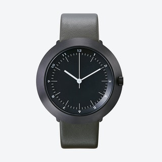 Fuji Ø 43 Watch w/ Dark Grey Face and Grey Calfskin Leather Strap