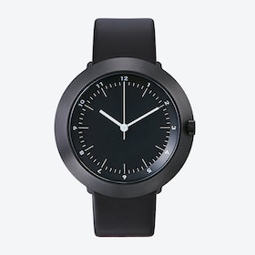 Fuji Ø 43 Watch w/ Dark Grey Face and Black Calfskin Leather Strap