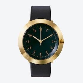 Fuji Ø 43 Watch w/ Black Face and Black Calfskin Leather Strap