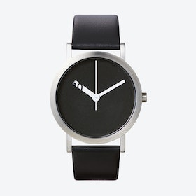 Extra Normal Grande Watch w/ Black Face and Black Calfskin Leather Strap