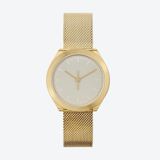 Hibi Ø 32 Watch w/ Grey Face and IP Gold Stainless Steel Mesh Band