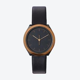 Hibi Ø 32 Watch w/ Black Face and Black Calfskin Leather Strap
