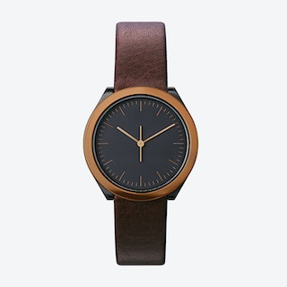 Hibi Ø 32 Watch w/ Black Face and Brown Calfskin Leather Strap