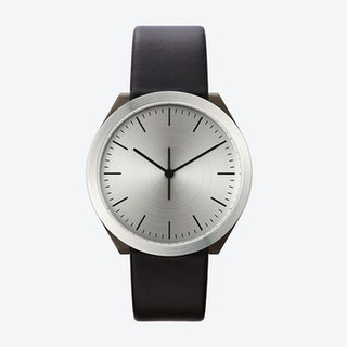 Hibi Ø 38 Watch w/ Stainless Steel Face and Black Calfskin Leather Strap