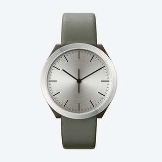 Hibi Ø 38 Watch w/ Stainless Steel Face and Grey Calfskin Leather Strap