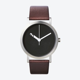 Extra Normal Grande Watch w/ Black Face and Brown Calfskin Leather Strap