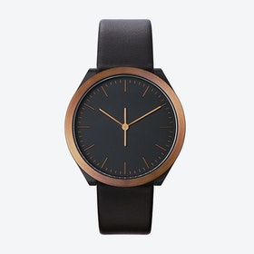 Hibi Ø 38 Watch w/ Black Face and Black Calfskin Leather Strap