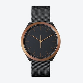 Hibi Ø 38 Watch w/ Black Face and IP Black Stainless Steel Mesh Band