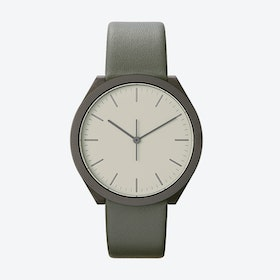 Hibi Ø 38 Watch w/ Light Grey Face and Grey Calfskin Leather Strap