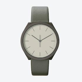 Hibi Ø 38 Watch w/ Light Grey Face and Grey Calfskin Leather Strap