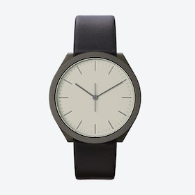Hibi Ø 38 Watch w/ Light Grey Face and Black Calfskin Leather Strap