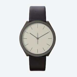 Hibi Ø 38 Watch w/ Light Grey Face and Black Calfskin Leather Strap