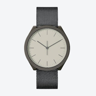 Hibi Ø 38 Watch w/ Light Grey Face and IP Black Stainless Steel Mesh Band