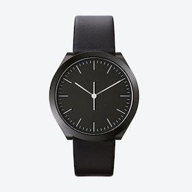Hibi Ø 38 Watch w/ Black Dial and Black Calfskin Leather Strap