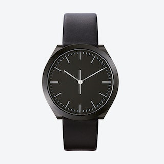 Hibi Ø 38 Watch w/ Black Dial and Black Calfskin Leather Strap