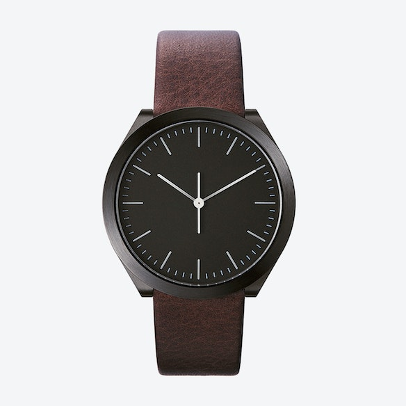 e046a3675 Hibi Ø 38 Watch w/ Black Dial and Brown Calfskin Leather Strap by Normal  Timepieces
