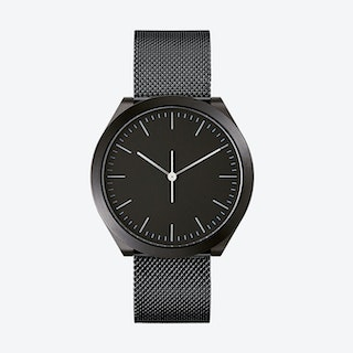 Hibi Ø 38 Watch w/ Black Dial and IP Black Stainless Steel Mesh Band