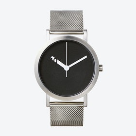 Extra Normal Grande Watch w/ Black Face and Stainless Steel Mesh Band