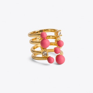 Raspberry & Crystal Cocktail Ring Gold